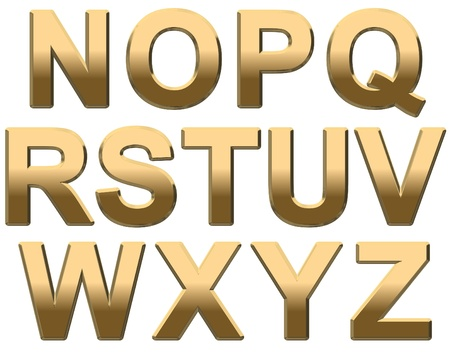 letters alphabet: Gold capital letters on a white background N-Z