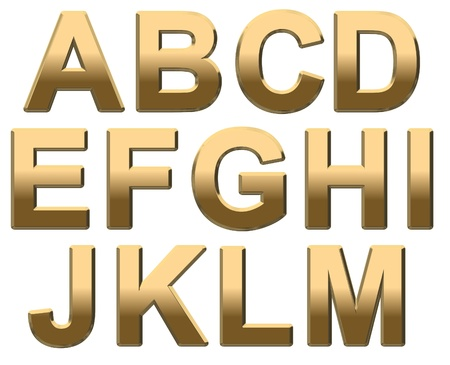 bold: Gold capital letters on a white background A-M