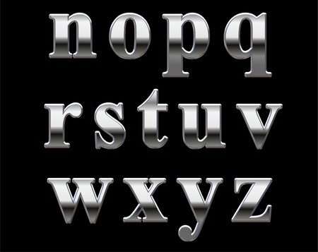 shiny metal: Chrome lowercase letters on a black background N-Z Stock Photo