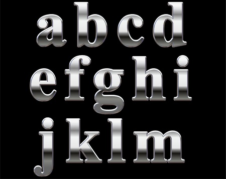 reflective: Chrome lowercase letters on a black background A-M