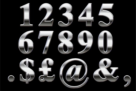 Chrome numbers on a black background 1-0