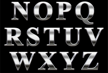 Chrome capital letters on a black background N-Z