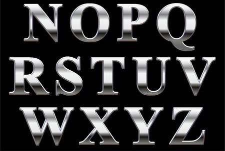 cromo: Letras may�sculas de cromo sobre un negro de fondo N-Z Foto de archivo