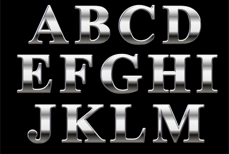 Chrome capital letters on a black background A-M Stock Photo - 8621785