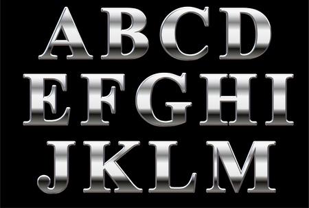 Chrome hoofdletters op een zwarte achtergrond A-M