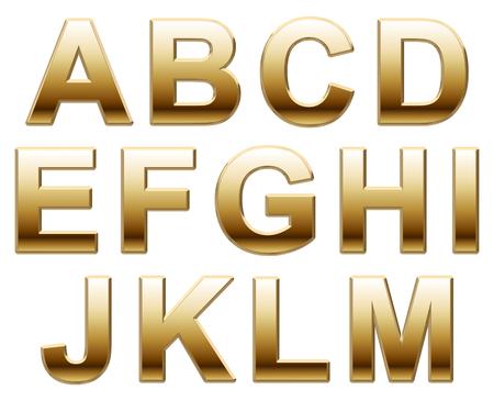 Shiny Gold Letters on a White Background Standard-Bild