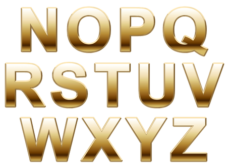 helvetica: Shiny Gold Letters on a White Background Stock Photo