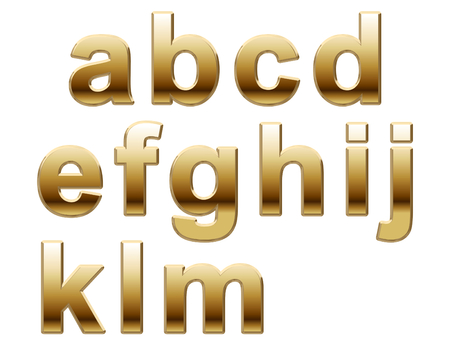 Shiny Gold Letters on a White Background Stock Photo