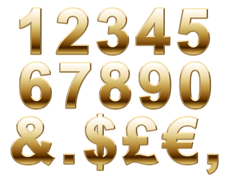 helvetica: Shiny Gold Numbers on a White Background Stock Photo