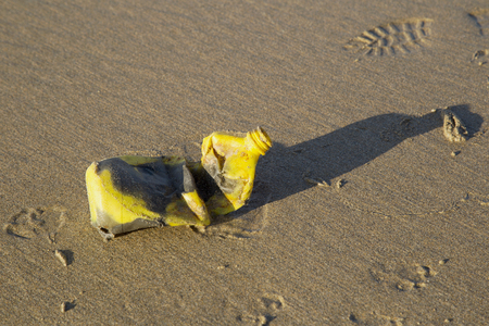 A yellow plastic bottle contaminates a beach in cornwall Banco de Imagens