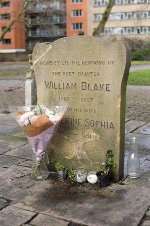 London, England, December 2017, The grave of William Blake