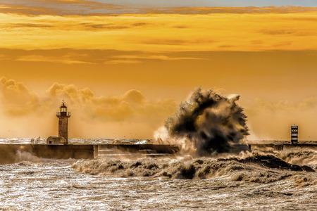 Porto Lighthouse Stormy Seascape