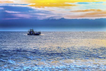 Taiwan sunrise fishing junk