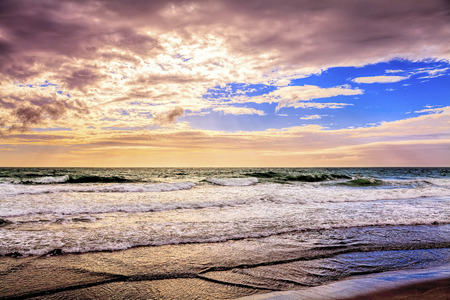 Remote isolated beach seascape sunset