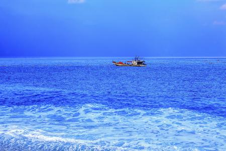 Chinese fishing junk choppy sea seascape
