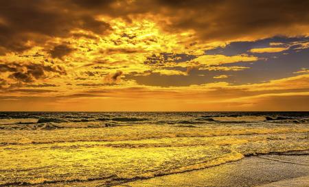 Sunset seascape isolated beach Stock Photo
