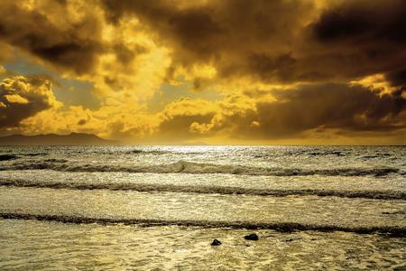 oceanscape: Cloudscape seascape serene remote Kiwi beach Stock Photo