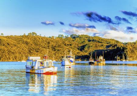 oceanscape: Beautiful Kiwi fishing village sunrise seascape