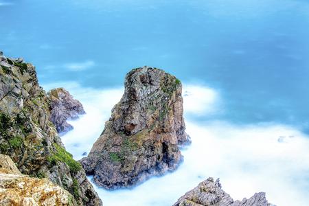 Long exposure cliffs seascape