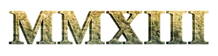 Digital Illustration of the year 2013 in stonemarble roman numerals. Stock Photo