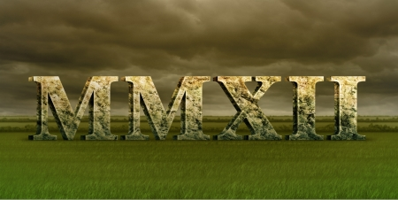 Digital Illustration of the year 2012 in stonemarble roman numerals. Stock Photo