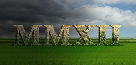 Digital Illustration of the year 2012 in stone marble roman numerals  Stock Photo