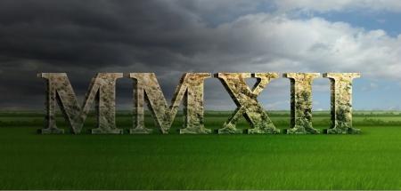 numeros romanos: Ilustraci�n Digital del a�o 2012 en piedra de m�rmol n�meros romanos