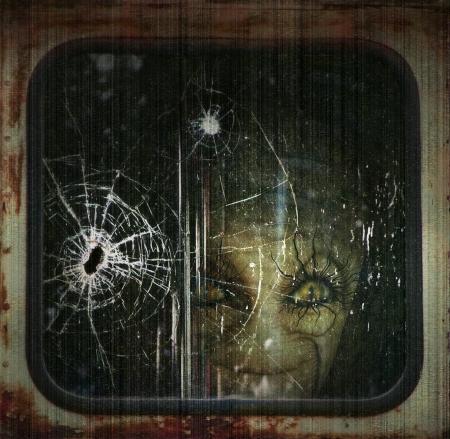 Digital Illustration of an alien looking through a train  Stock Photo