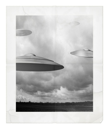 space invader:  Digital Illustration of UFOs  Stock Photo