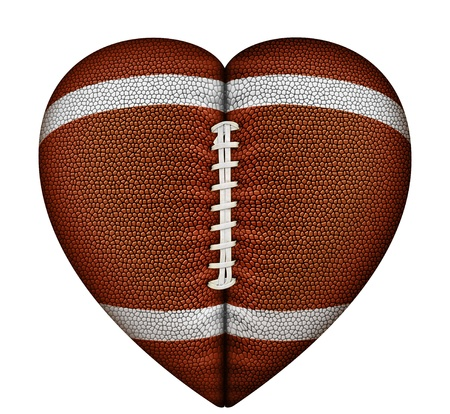 Digital illustration of a heart-shaped football.