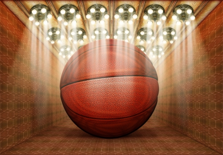 Photo-illustration of a basketball in a museum.