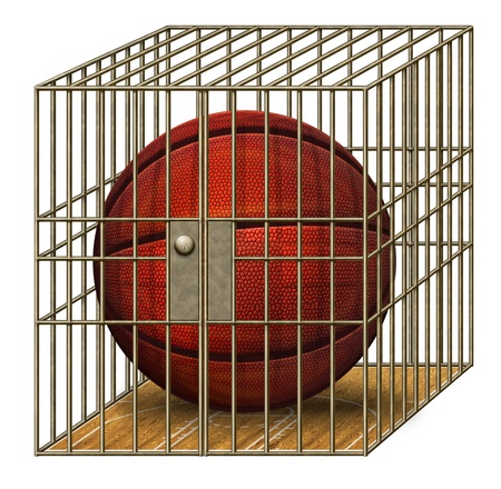 Digital illustration of a basketball in a jail cell. Stock Illustration - 17095914