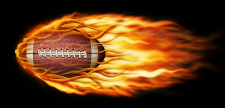 Digital illustration of a flaming football.
