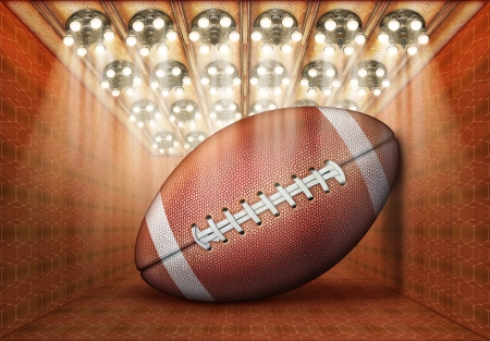 Photo-illustration of a gigantic football in a museum. Stock Illustration - 17095913