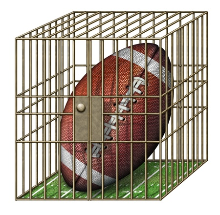 Digital illustration of a football in a jail cell.