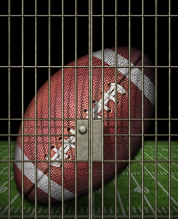 Digital illustration of a football in a jail cell. Stock Illustration - 17095908