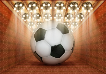 Photo-illustration of a gigantic soccerball in a museum.