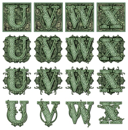 Photo-Illustration using parts of U S  currency bills retouched and re-illustrated to create a new Money-themed alphabet  Seven total files can be downloaded to get a complete set  Stock Photo