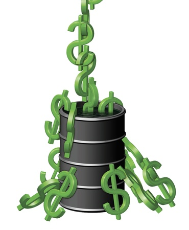 Illustration of dollar symbols (like monkeys) being pulled out of a barrel of oil. Stock Photo