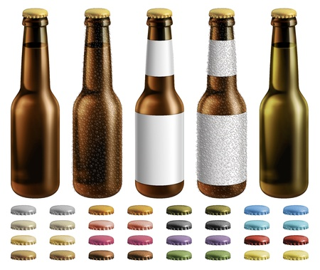 Digital illustration of beer bottles with and without labels and condensation droplets. Extra optional caps are included.
