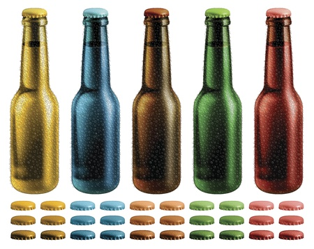 Digital illustration of beer bottles with condensation droplets. Optional caps are included.