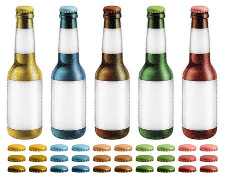 白紙のラベルと凝縮液滴オプション キャップ ビール瓶のデジタル イラストが含まれて