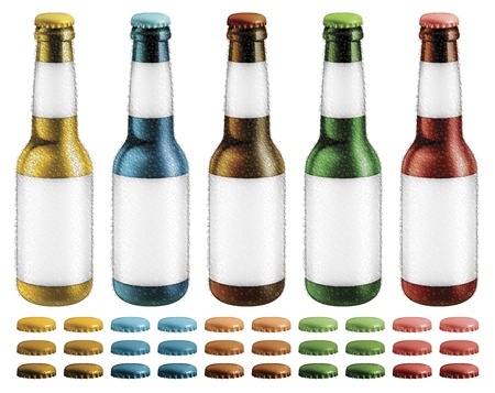 Digital illustration of beer bottles with blank labels and condensation droplets  Optional caps are included