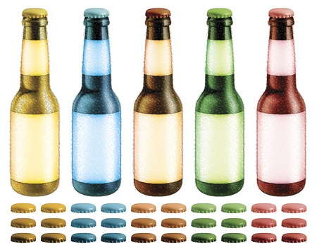 condensation: Digital illustration of beer bottles with blank labels and condensation droplets  Optional caps are included