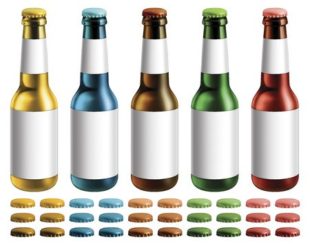 Digital illustration of beer bottles with blank labels  Extra optional caps are included