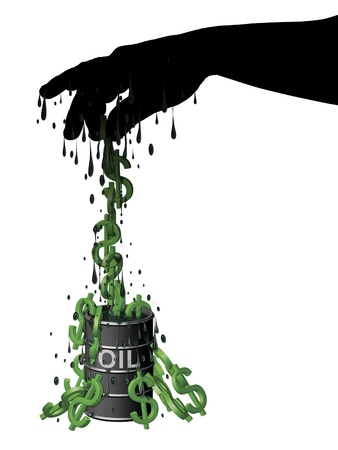 Illustration of dollar symbols  like monkeys  being pulled out of a barrel of oil