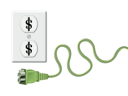 Illustration of an electrical outlet ad cord as dollar symbols