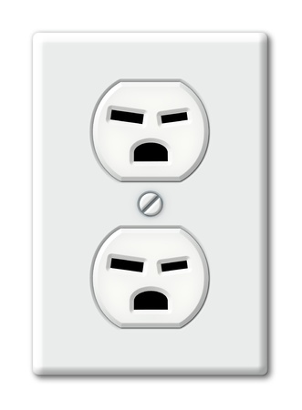 Illustration of an electrical outlet as angry faces