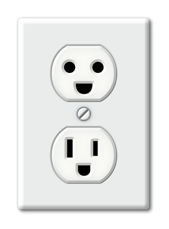 Illustration of an electrical outlet as happy faces  Stock Photo