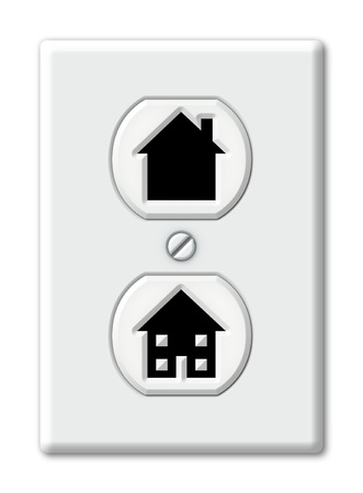 Illustration of an electrical outlet with house shapes